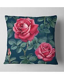 "Designart Rose Illustration Watercolor Floral Throw Pillow - 26"" X 26"""