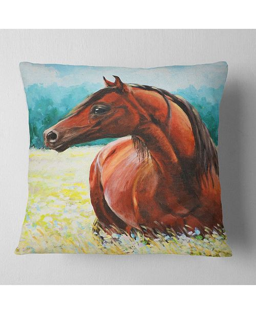 "Design Art Designart Brown Arabian Horse Painting Abstract Throw Pillow - 18"" X 18"""