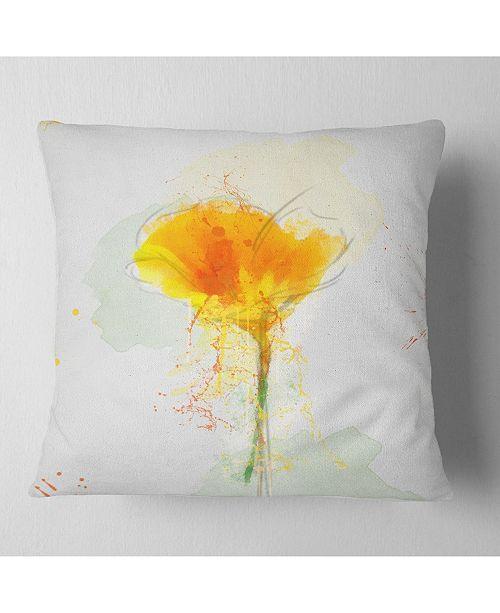 "Design Art Designart Yellow Flower Sketch Watercolor Floral Throw Pillow - 16"" X 16"""