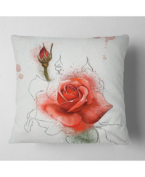 "Design Art Designart Red Watercolor Rose Sketch Floral Throw Pillow - 18"" X 18"""