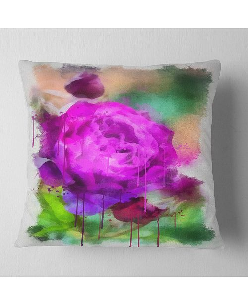 "Design Art Designart Purple Watercolor Rose Painting Floral Throw Pillow - 16"" X 16"""