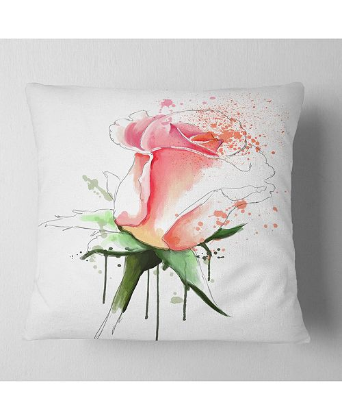 "Design Art Designart Pink Rose Sketch With Green Calyx Floral Throw Pillow - 18"" X 18"""