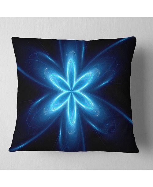 """Design Art Designart Blue Glowing Space Fractal Flower Flower Throw Pillow - 16"""" X 16"""""""