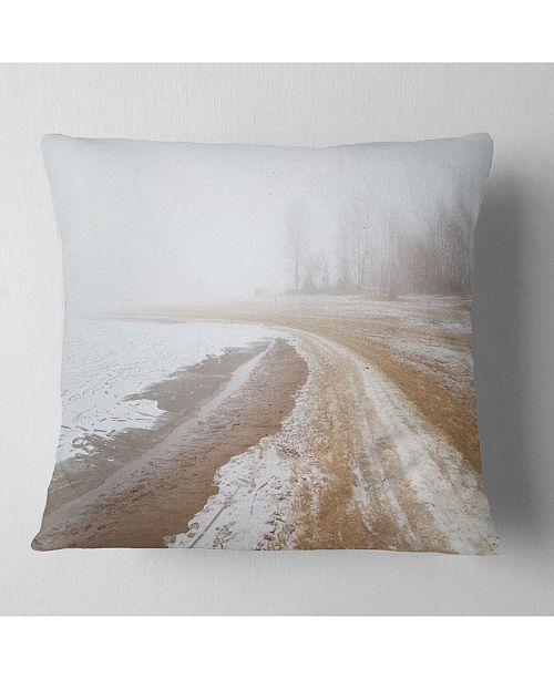 "Design Art Designart Sandy Beach In The Winter Fog Modern Seashore Throw Pillow - 18"" X 18"""