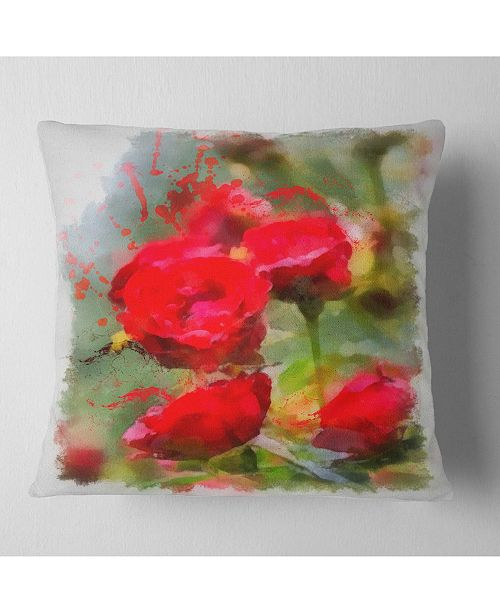 "Design Art Designart Red Roses On Green Watercolor Flower Throw Pillow - 16"" X 16"""