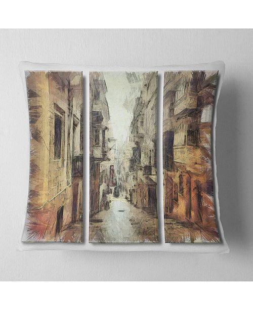 "Design Art Designart Path In Street Watercolor Stretch Cityscape Throw Pillow - 18"" X 18"""