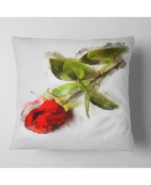 "Design Art Designart Red Rose With Stem Drawing Flower Throw Pillow - 16"" X 16"""