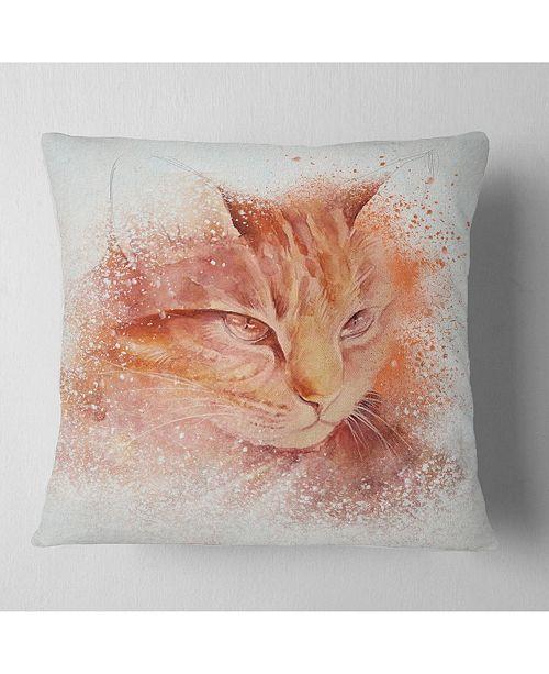 "Design Art Designart Brown Cat Face Sketch On White Animal Throw Pillow - 18"" X 18"""