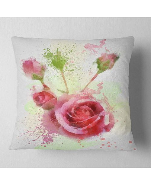"""Design Art Designart Bloomy And Budding Red Roses Floral Throw Pillow - 16"""" X 16"""""""