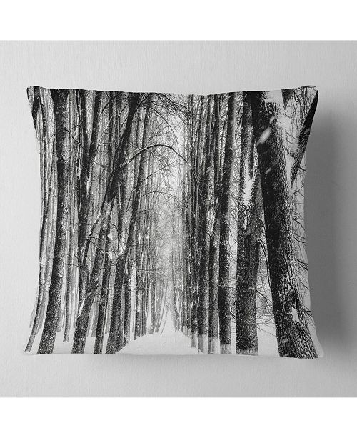 "Design Art Designart Snowy Forest Black And White Modern Forest Throw Pillow - 18"" X 18"""