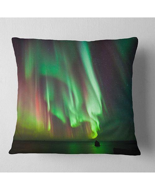 """Design Art Designart Green Northern Lights Aurora Abstract Throw Pillow - 16"""" X 16"""""""