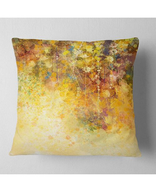 "Design Art Designart White Flowers And Soft Color Leaves Floral Throw Pillow - 18"" X 18"""