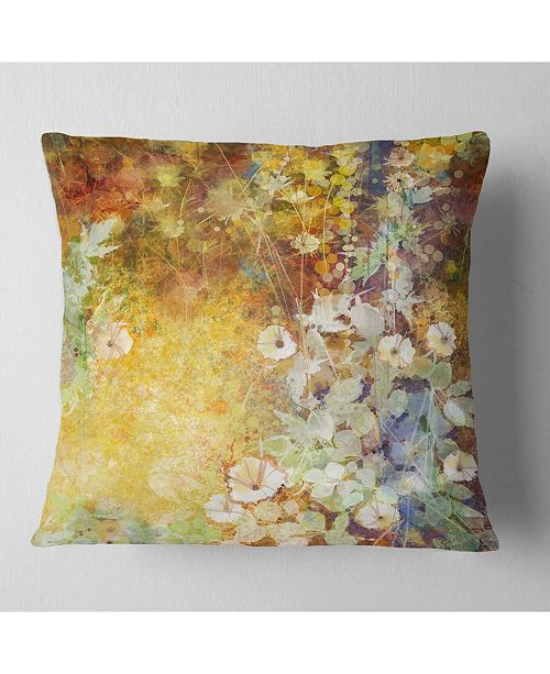 "Design Art Designart Little Flowers With Soft Green Leaves Floral Throw Pillow - 18"" X 18"""