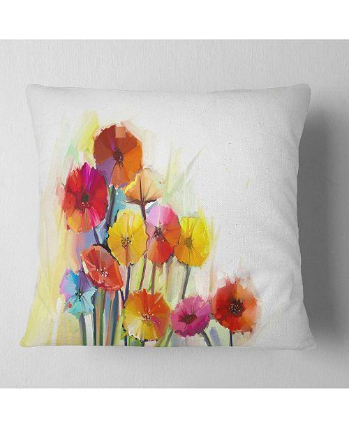 "Design Art Designart Colorful Gerbera Flowers Watercolor Floral Throw Pillow - 16"" X 16"""
