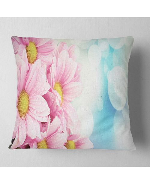 "Design Art Designart Pink Flowers Bouquet On Blue Floral Throw Pillow - 16"" X 16"""