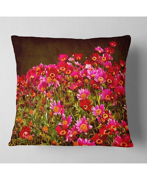 """Design Art Designart Small Red Flowers In Spring Photo Floral Throw Pillow - 16"""" X 16"""""""