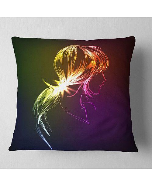 "Design Art Designart Illuminating Fractal Girl S Head Abstract Throw Pillow - 18"" X 18"""