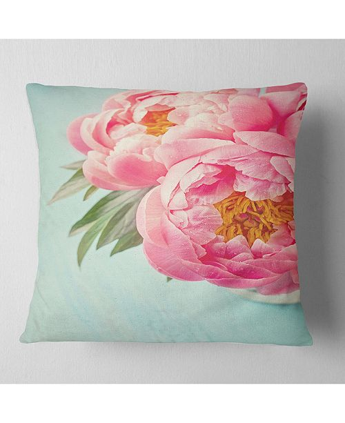 "Design Art Designart Peony Flowers On Blue Background Floral Throw Pillow - 16"" X 16"""