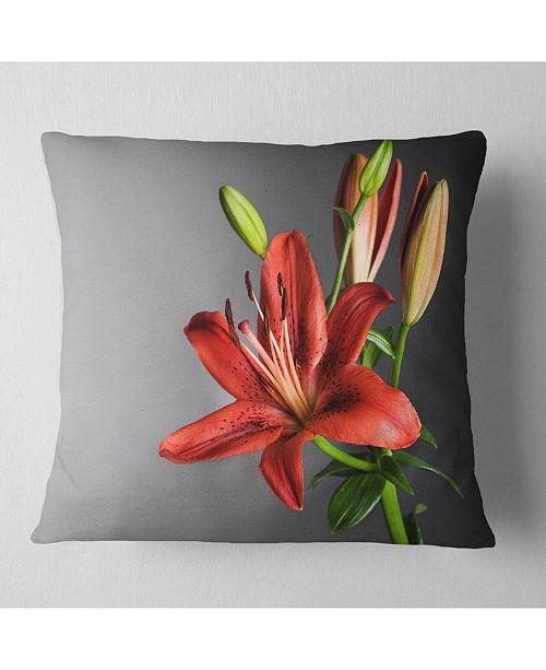 """Design Art Designart Cute Red Lily Flower Over Black Flowers Throw Pillowwork - 16"""" X 16"""""""