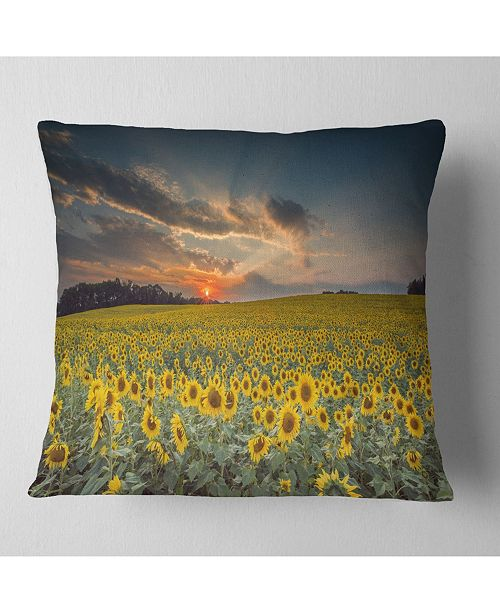 "Design Art Designart Sunflower Sunset With Cloudy Sky Landscape Printed Throw Pillow - 18"" X 18"""