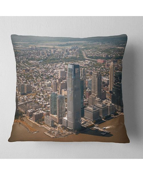 """Design Art Designart Aerial View Of City From Helicopter Cityscape Throw Pillow - 18"""" X 18"""""""