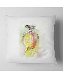 "Designart Perfume Bottle Watercolor Animal Throw Pillow - 18"" X 18"""