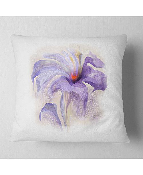 "Design Art Designart Purple Flower Watercolor Illustration Animal Throw Pillow - 16"" X 16"""