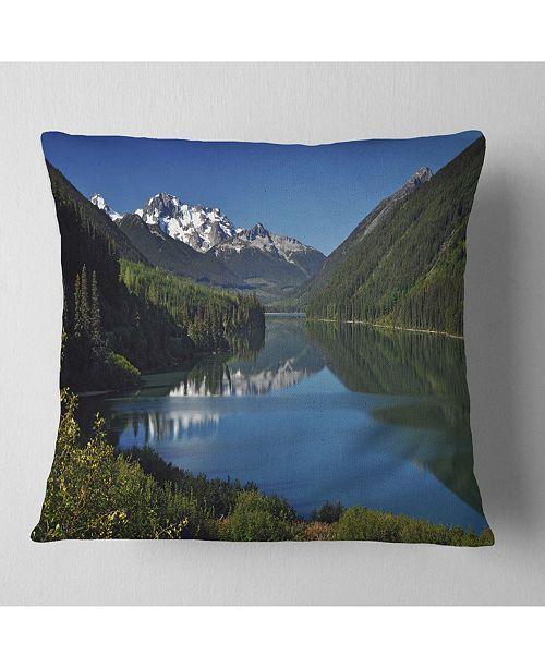 "Design Art Designart Calm Clear Lake With Mountains Landscape Printed Throw Pillow - 18"" X 18"""