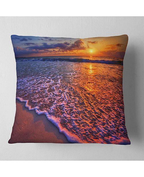 "Design Art Designart Colorful Sunset And Wavy Waters Seashore Throw Pillow - 16"" X 16"""