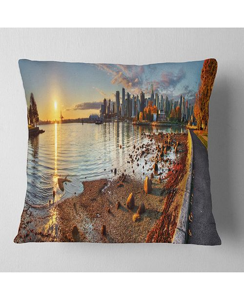 "Design Art Designart Vancouver Downtown Panorama Landscape Printed Throw Pillow - 18"" X 18"""