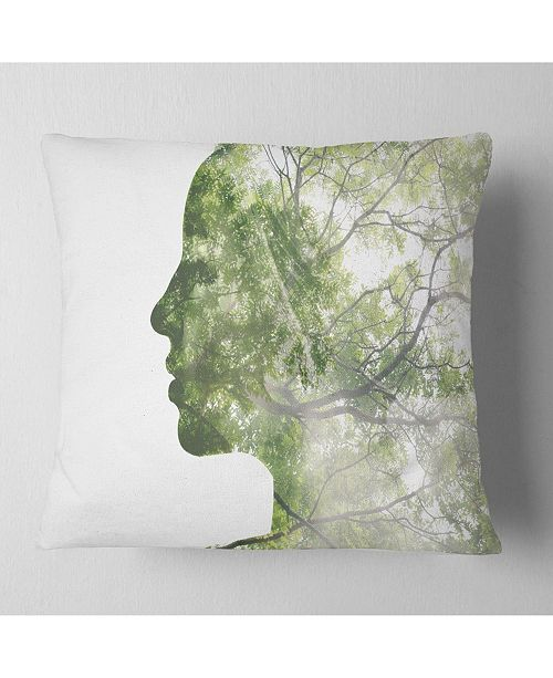 """Design Art Designart Lady Combined With Green Tree Portrait Throw Pillow - 16"""" X 16"""""""