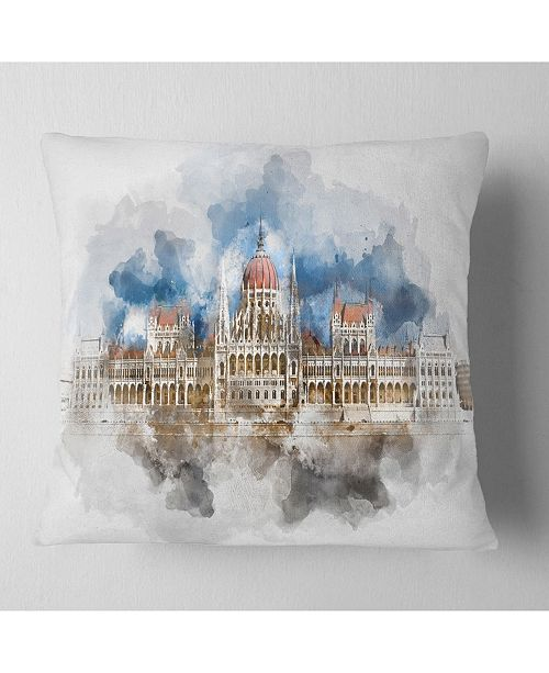 "Design Art Designart Hungarian Parliament Building Throw Pillow - 18"" X 18"""