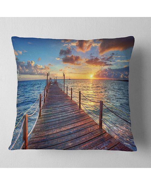 """Design Art Designart Beautiful Sunset Over Sea Pier Modern Throw Pillow - 16"""" X 16"""""""
