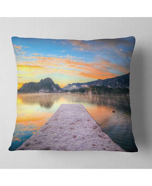 "Design Art Designart Bled With Lake In Winter Slovenia Bridge Throw Pillow - 18"" X 18"""