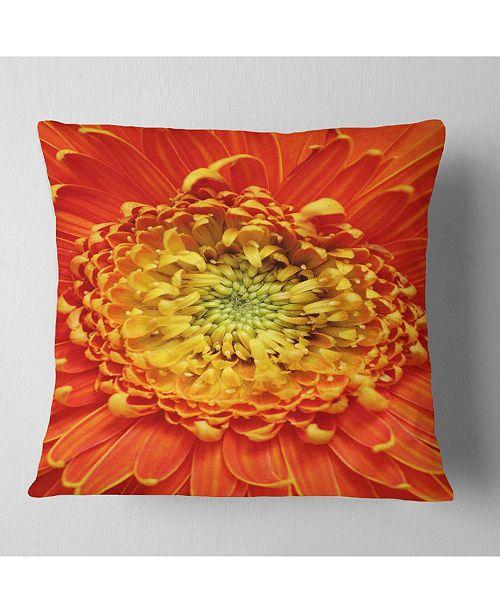"Design Art Designart Beautiful Gerbera Flower In Brig Floral Throw Pillow - 16"" X 16"""