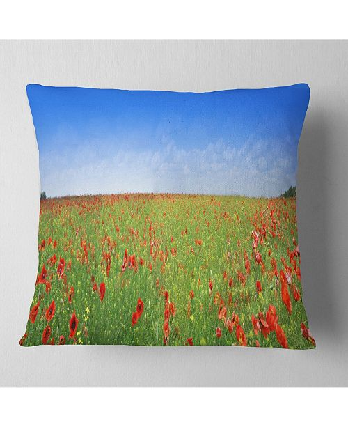 "Design Art Designart Poppy Meadow Panorama Landscape Printed Throw Pillow - 18"" X 18"""