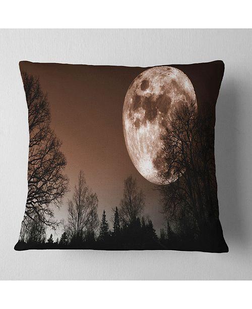 "Design Art Designart Red Moon Rise Over Dark Trees Landscape Printed Throw Pillow - 18"" X 18"""