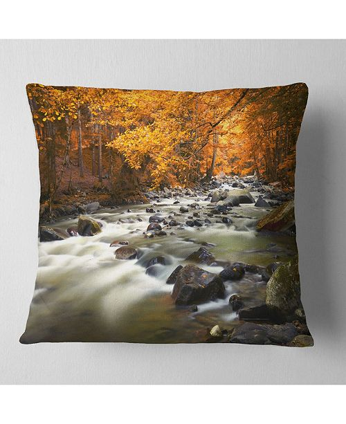 "Design Art Designart Autumn Terrai With Trees And River Landscape Printed Throw Pillow - 18"" X 18"""