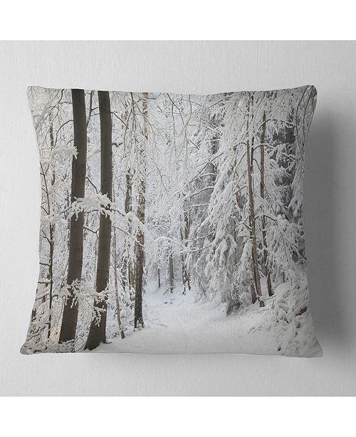 """Design Art Designart Dense Winter Forest And Lane Forest Throw Pillow - 18"""" X 18"""""""