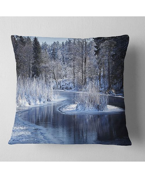 "Design Art Designart Winter Lake In Deep Forest Landscape Printed Throw Pillow - 16"" X 16"""