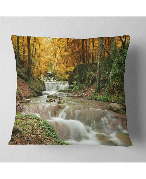 """Design Art Designart Forest Waterfall With Yellow Trees Landscape Printed Throw Pillow - 18"""" X 18"""""""