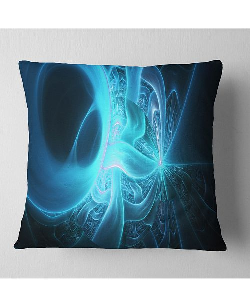 "Design Art Designart Shining Bright Blue On Black Abstract Throw Pillow - 16"" X 16"""