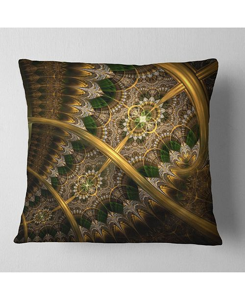 "Design Art Designart Dark Green Gold Fractal Flower Abstract Throw Pillow - 16"" X 16"""