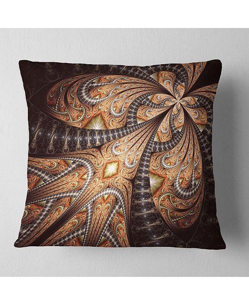 """Design Art Designart Brown Symmetrical Fractal Flower Abstract Throw Pillow - 18"""" X 18"""""""