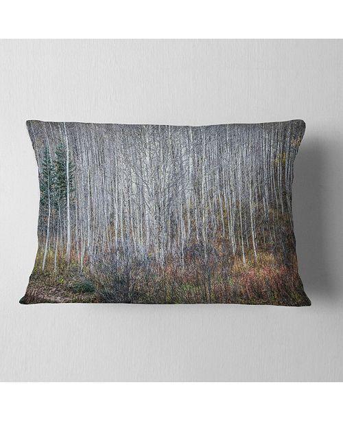 """Design Art Designart Maroon Bells Mountain View Modern Forest Throw Pillow - 12"""" X 20"""""""