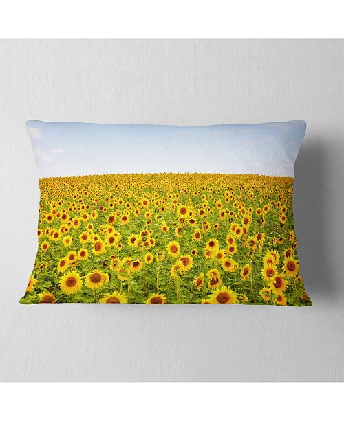 "Design Art Designart Beautiful Sunflowers Garden Floral Throw Pillow - 12"" X 20"""