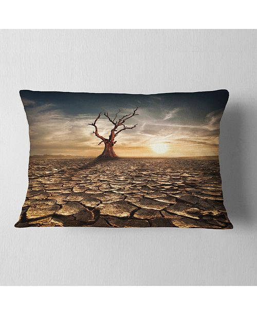 """Design Art Designart Lonely Dead Tree In Cracked Land Landscape Printed Throw Pillow - 12"""" X 20"""""""