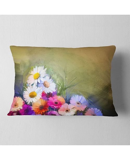 "Design Art Designart White Sunflower And Gerbera Flowers Floral Throw Pillow - 12"" X 20"""