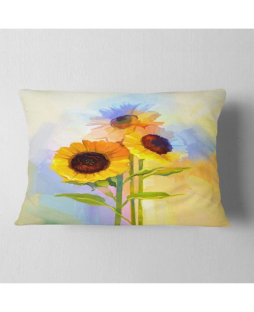 """Design Art Designart Yellow Sunflowers With Green Leaves Floral Throw Pillow - 12"""" X 20"""""""