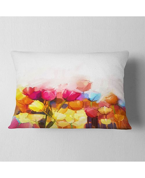 "Design Art Designart Yellow Pink Red Tulips On White Floral Throw Pillow - 12"" X 20"""